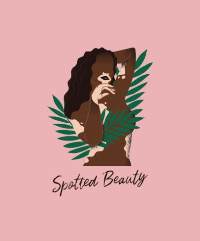 Body Positivity T-Shirt Design Generator Featuring a Woman with Vitiligo 2226c