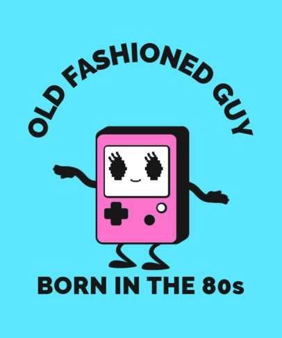 Retro T-Shirt Design Maker Featuring an Old Gameboy Inspired Character 2225G