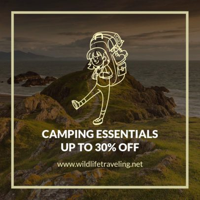 Camping Facebook Post Creator Featuring a Happy Camper Graphic 2244b