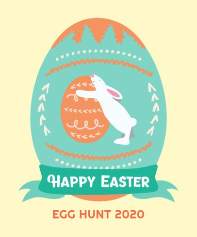 T-Shirt Design Template Featuring an Easter Egg with a Bunny Graphic 2223a