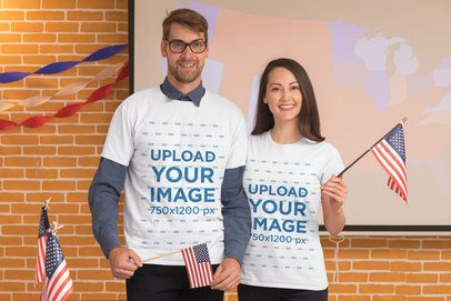 T-Shirt Mockup Featuring a Man and a Woman at a Political Campaign Booth 31916