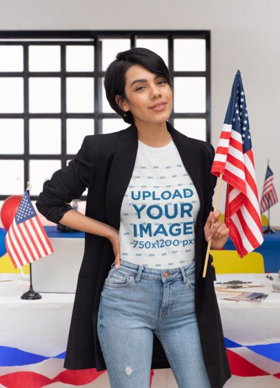 T-Shirt Mockup of a Woman in a Political-Campaign Setting 31940