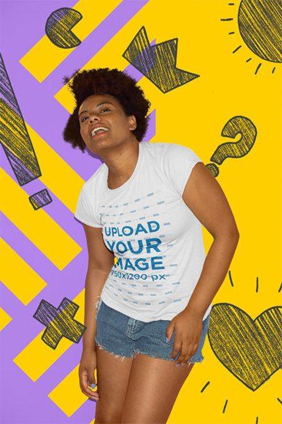 T-Shirt Mockup of a Funny Woman at a Studio 22855