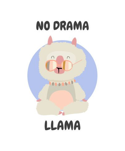 T-Shirt Design Generator Featuring a Drama-Free Llama Illustration 250b-el1