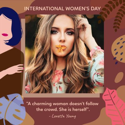 Women's Day Instagram Post Template with Illustrations and a Quote 2262c
