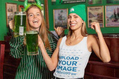 Tank Top Mockup Featuring Two Joyful Women Celebrating St Patricks Day 32148