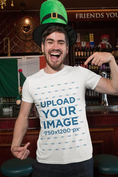St. Patrick's Day Mockup of a Smiling Man Pointing at His T-Shirt 32139