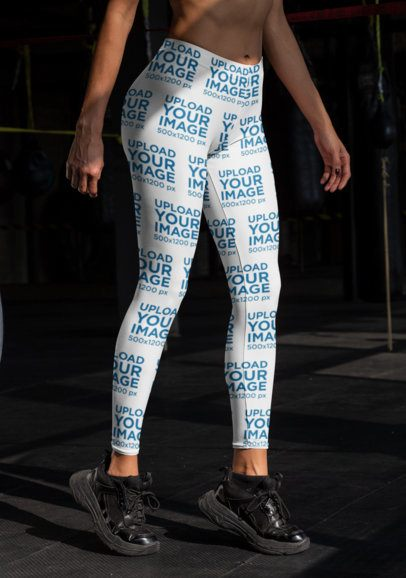 Cropped Face Mockup of a Woman Wearing Sublimated Leggings at the Gym 31364