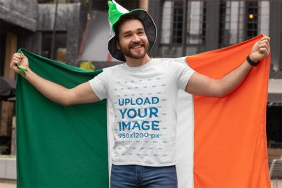 T-Shirt Mockup Featuring a Man Celebrating St Patricks Day with a Flag 32117