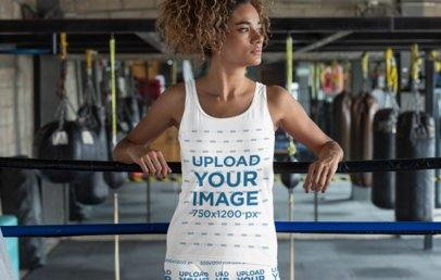 Tank Top Mockup of a Woman in a Boxing Ring 31366