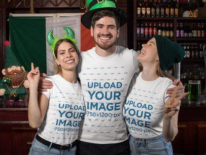 T-Shirt Mockup of a Fun Group Celebrating Saint Patrick's Day at a Bar 32133