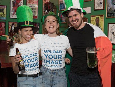 Mockup of Three Friends with T-Shirts Celebrating St Patricks Day 32138