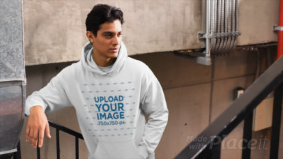 Pullover Hoodie Video of a Man Posing on a Staircase 32016