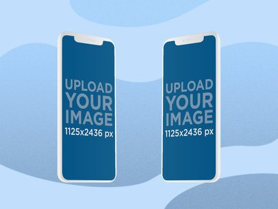 Illustrated Mockup Featuring Two iPhone 11 Pro Screens with a Customizable Background 2885