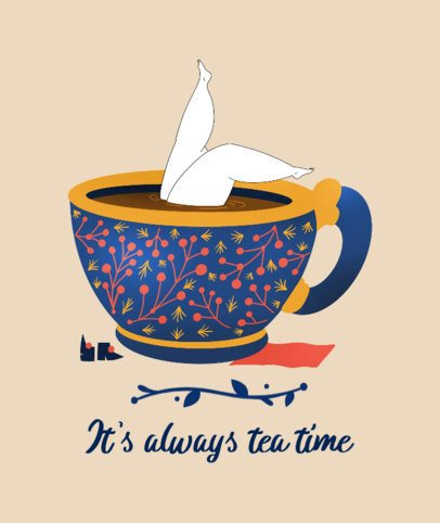 Tote Bag Design Maker Featuring a Woman Submerged in a Cup of Tea 2281b