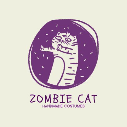 Handmade Costume Store Logo Maker with a Zombie Cat Illustration 2950j