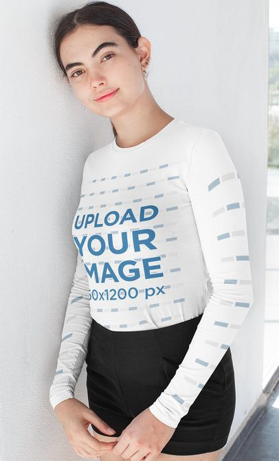 Mockup of a Young Woman Wearing Long Sleeve Tee with Customizable Sleeves 31473