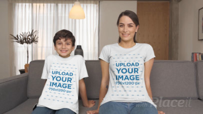 T-Shirt Video Featuring a Mother and Her Son Sitting on a Couch 32330