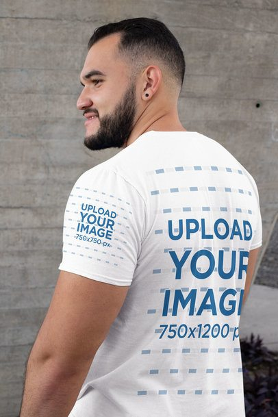 Mockup of a Bearded Man Wearing a Shirt with a Customizable Sleeve 31479