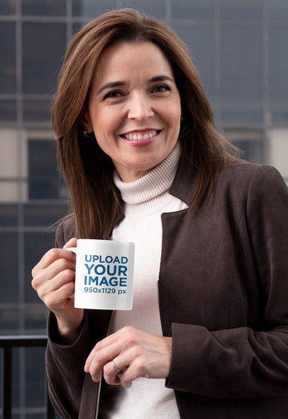 11 oz Coffee Mug Mockup Featuring a Smiling Adult Woman 31598