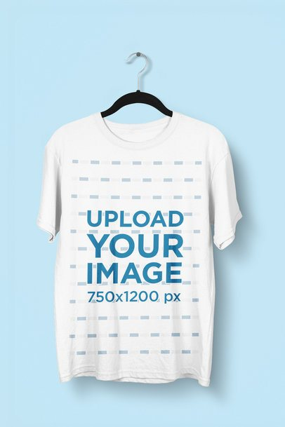 Mockup of a Hanging T-Shirt Featuring a Customizable Background 2898-el1