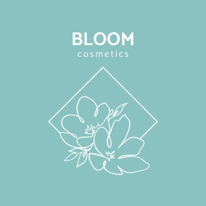 Cosmetic Brand Logo Template Featuring Flower Line-Drawings 2960f