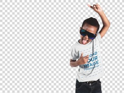Little Boy Sticking Out His Tongue Wearing a Tee and Sunglasses Mockup a12069