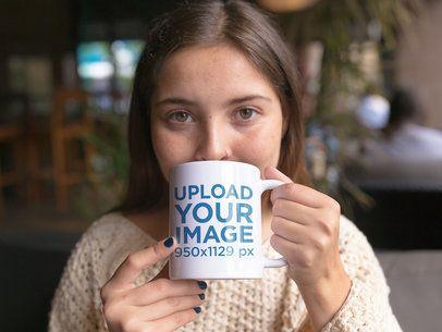 Mug Mockup of a Beautiful Girl Drinking a Hot Beverage a11943