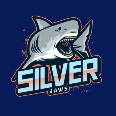Gaming Logo Template Featuring a White Shark Graphic 2975a