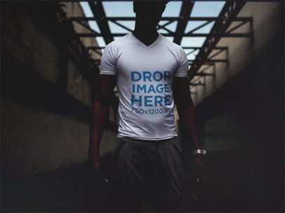 Urban T-Shirt Mockup Featuring a Young Black Man in the Dark a12143