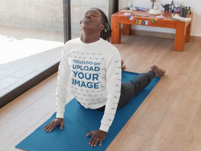 Mockup of a Man Wearing a Long Sleeve Tee With Customizable Sleeves Doing Yoga 31121