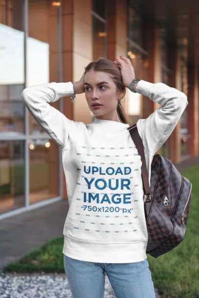 Sweatshirt Mockup of a Woman with Her Hands on Her Head 2842-el1