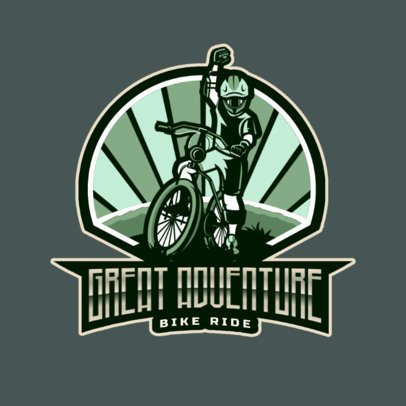 Logo Maker for a Sports Team Featuring a Cheering Biker Illustration 2968c