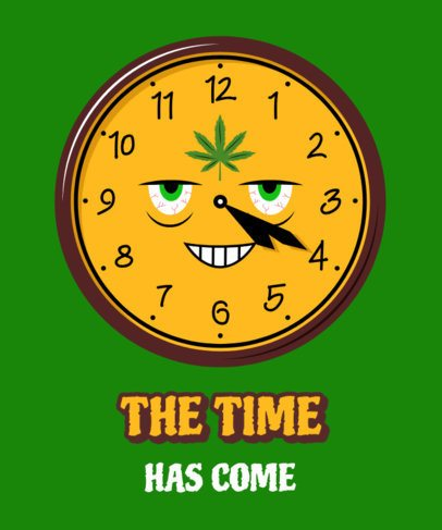 Cannabis Culture T-Shirt Design Template Featuring a Clock Marking 4:20 2257g