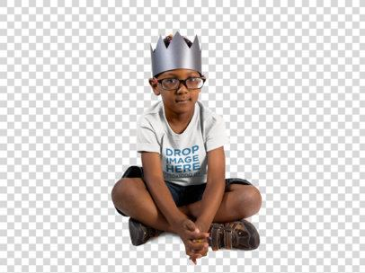 Round Neck Kid's Tee of a Little Boy Sitting and Wearing a Crown a12074