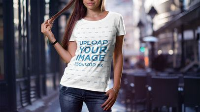 Cropped Face Mockup Featuring a Woman with Long Hair Wearing a T-Shirt 2987-el1