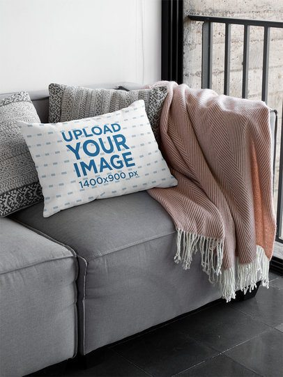Sublimated Pillow Mockup Featuring a Gray Couch 31318