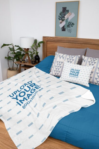 Mockup of a Bed Pillow and a Blanket Placed on a Tidy Bed 31299