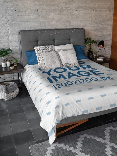 Mockup of a Duvet Cover Placed in a Modern Bedroom 31294