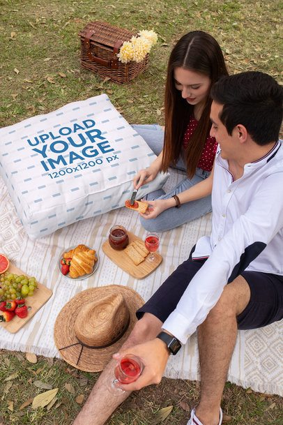 Cushion Mockup of a Young Couple Having a Picnic 33287