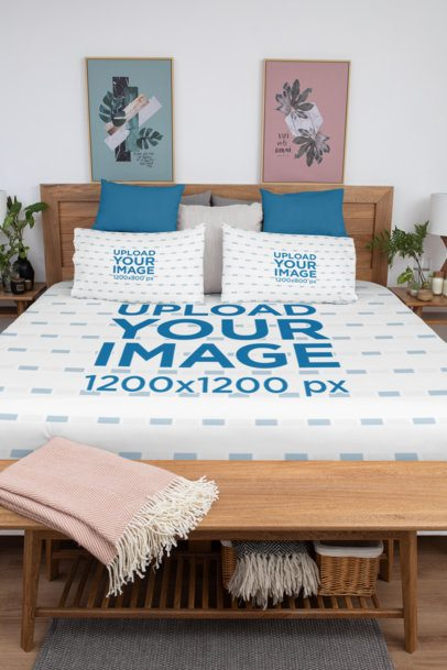 Duvet Mockup Featuring Two Bed Pillows in a Shabby Bedroom 31302