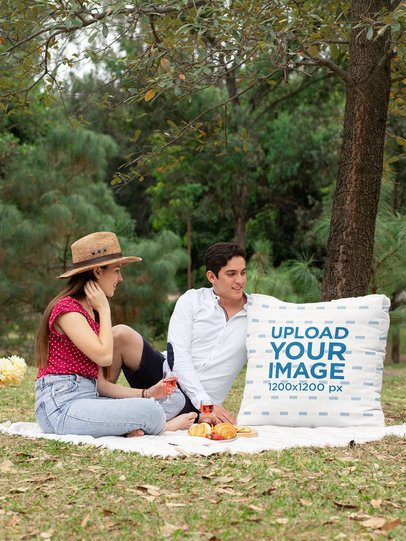 Cushion Mockup of a Couple on a Picnic 32288