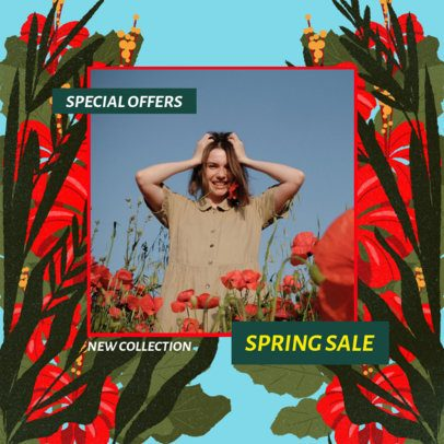 Spring Sale Instagram Post Template Featuring a Background With Tropical Flowers 2309c