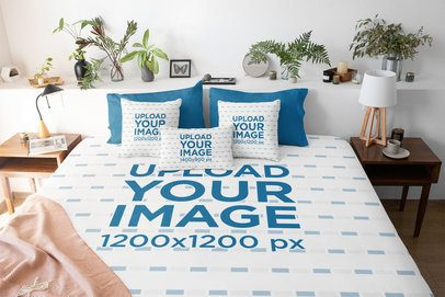 Duvet Cover Mockup Featuring Three Customizable Pillows and a Bedroom With Plants 31278