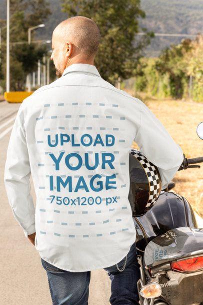 Back-View Mockup of a Biker Wearing a Button-Up Shirt 31842