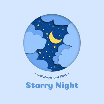 Creative Logo Template Featuring a Night Sky in Paper Cut Style 2999b