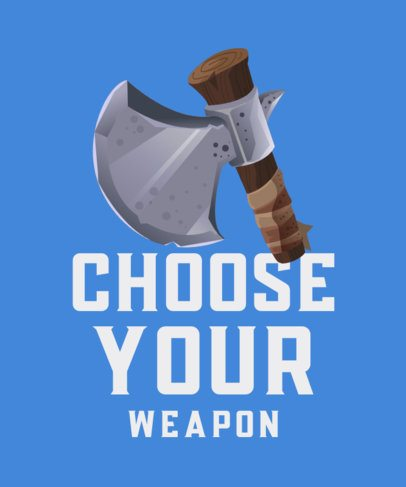 T-Shirt Design Template for Gamers Featuring an Axe Icon 916a-el1