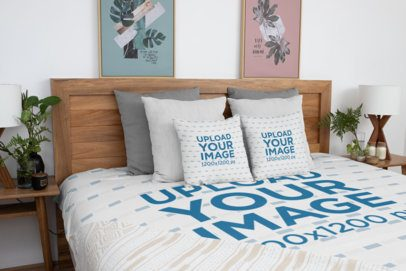 Duvet Mockup Featuring Two Squared Pillows 31321
