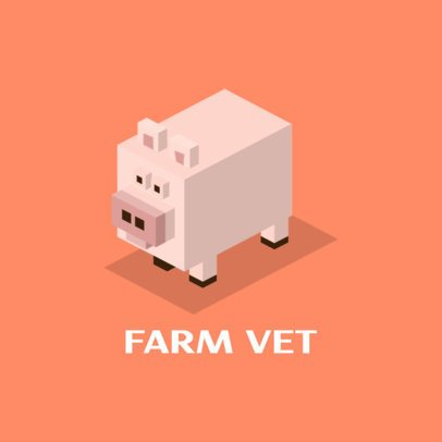 Farm Vet Logo Maker with an Isometric Pig Clipart 921a-el1