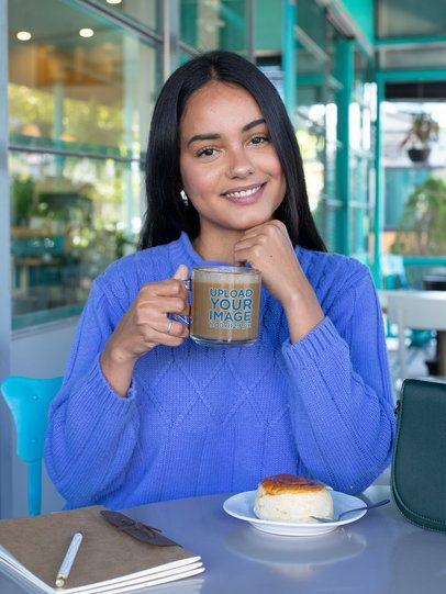 Glass Mug Mockup Featuring a Woman at a Coffee Shop 31743